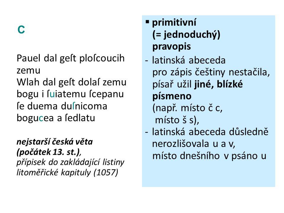 C Pauel dal geſt ploſcoucih zemu Wlah dal geſt dolaſ zemu bogu i ſuiatemu ſcepanu ſe duema duſnicoma bogucea a ſedlatu nejstarší česká věta (počátek 1