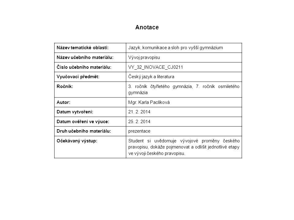 Anotace Název tematické oblasti: Jazyk, komunikace a sloh pro vyšší gymnázium Název učebního materiálu: Vývoj pravopisu Číslo učebního materiálu: VY_3