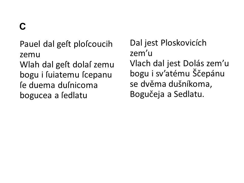 C Pauel dal geſt ploſcoucih zemu Wlah dal geſt dolaſ zemu bogu i ſuiatemu ſcepanu ſe duema duſnicoma bogucea a ſedlatu Dal jest Ploskovicích zem'u Vla