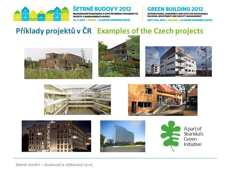 Příklady projektů v ČR Examples of the Czech projects Zelené stavění – zkušenosti a očekávaný vývoj