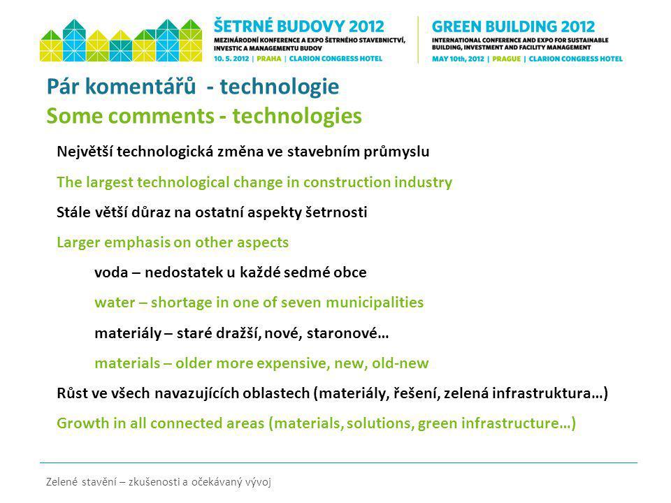 Zelené stavění – zkušenosti a očekávaný vývoj Pár komentářů - technologie Some comments - technologies Největší technologická změna ve stavebním průmy