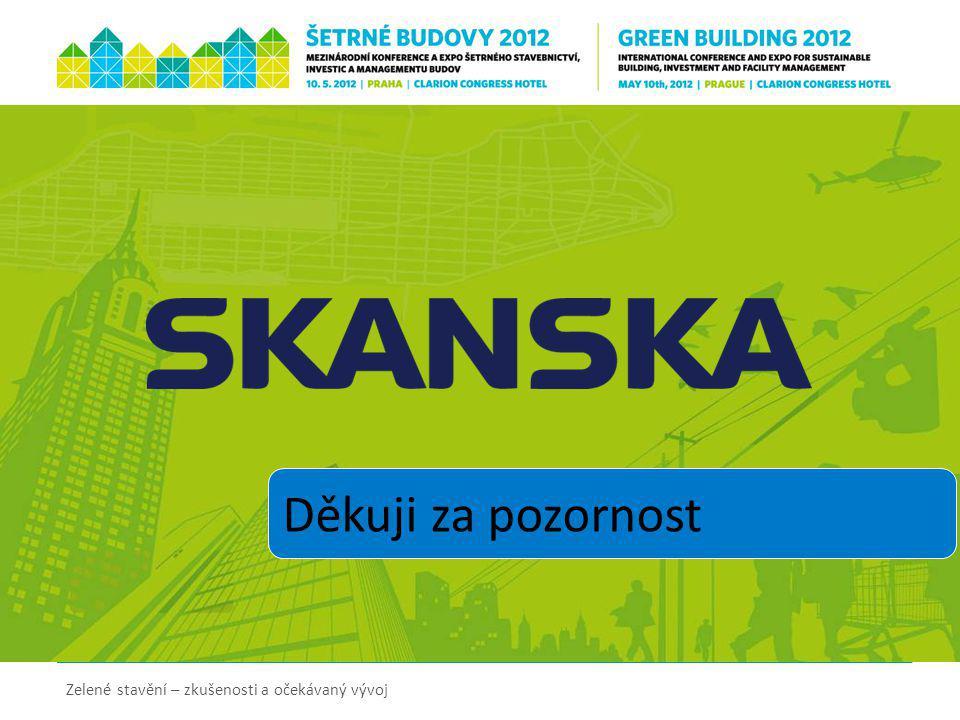 Zelené stavění – zkušenosti a očekávaný vývoj Děkuji za pozornost