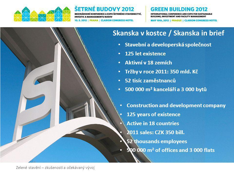 Skanska v kostce / Skanska in brief Stavební a developerská společnost 125 let existence Aktivní v 18 zemích Tržby v roce 2011: 350 mld. Kč 52 tisíc z