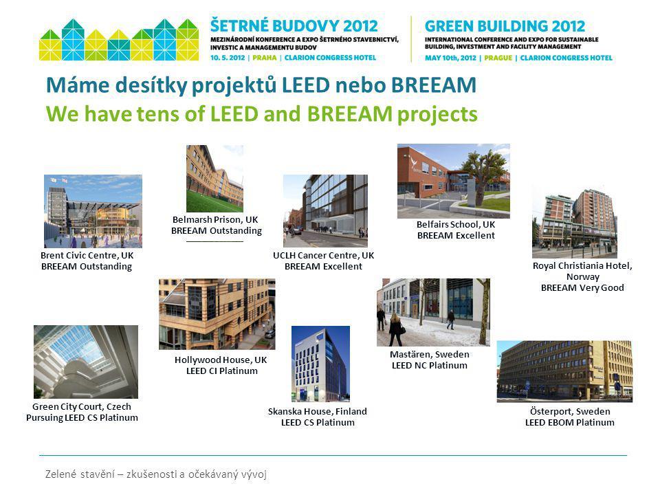 Zelené stavění – zkušenosti a očekávaný vývoj Máme desítky projektů LEED nebo BREEAM We have tens of LEED and BREEAM projects Brent Civic Centre, UK B