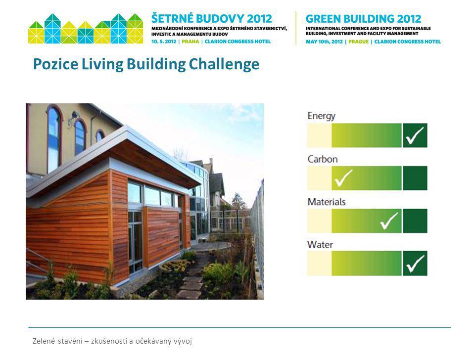 Pozice Living Building Challenge Zelené stavění – zkušenosti a očekávaný vývoj