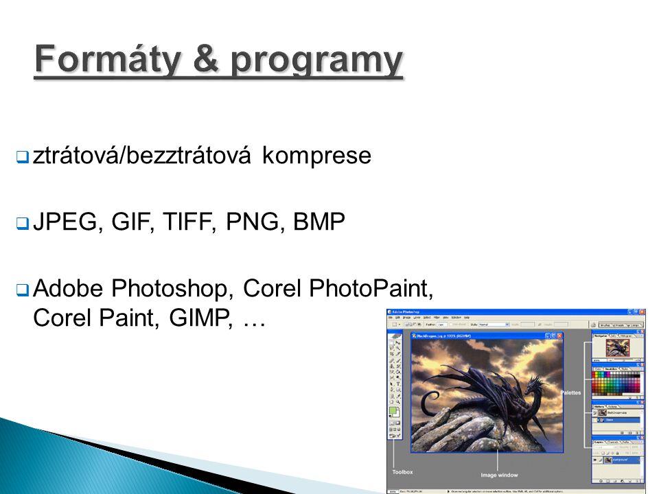 Formáty & programy  ztrátová/bezztrátová komprese  JPEG, GIF, TIFF, PNG, BMP  Adobe Photoshop, Corel PhotoPaint, Corel Paint, GIMP, …