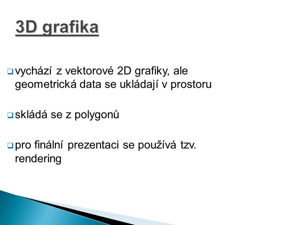 3D grafika  vychází z vektorové 2D grafiky, ale geometrická data se ukládají v prostoru  skládá se z polygonů  pro finální prezentaci se používá tz