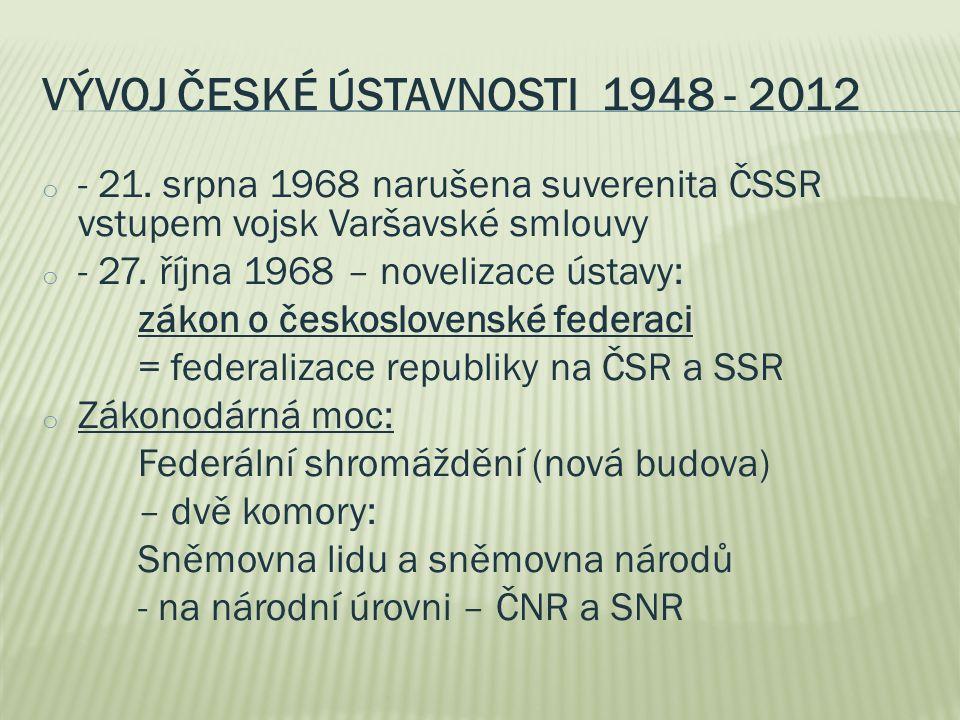 VÝVOJ ČESKÉ ÚSTAVNOSTI 1948 - 2012 o - 21. srpna 1968 narušena suverenita ČSSR vstupem vojsk Varšavské smlouvy o - 27. října 1968 – novelizace ústavy:
