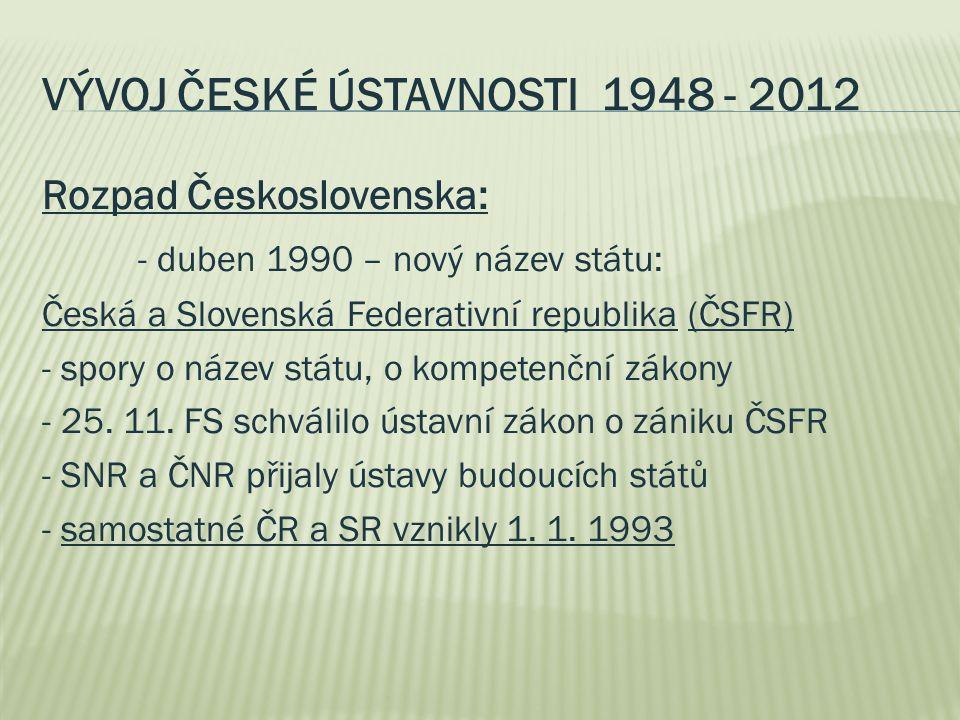 VÝVOJ ČESKÉ ÚSTAVNOSTI 1948 - 2012 Rozpad Československa: - duben 1990 – nový název státu: Česká a Slovenská Federativní republika (ČSFR) - spory o název státu, o kompetenční zákony - 25.