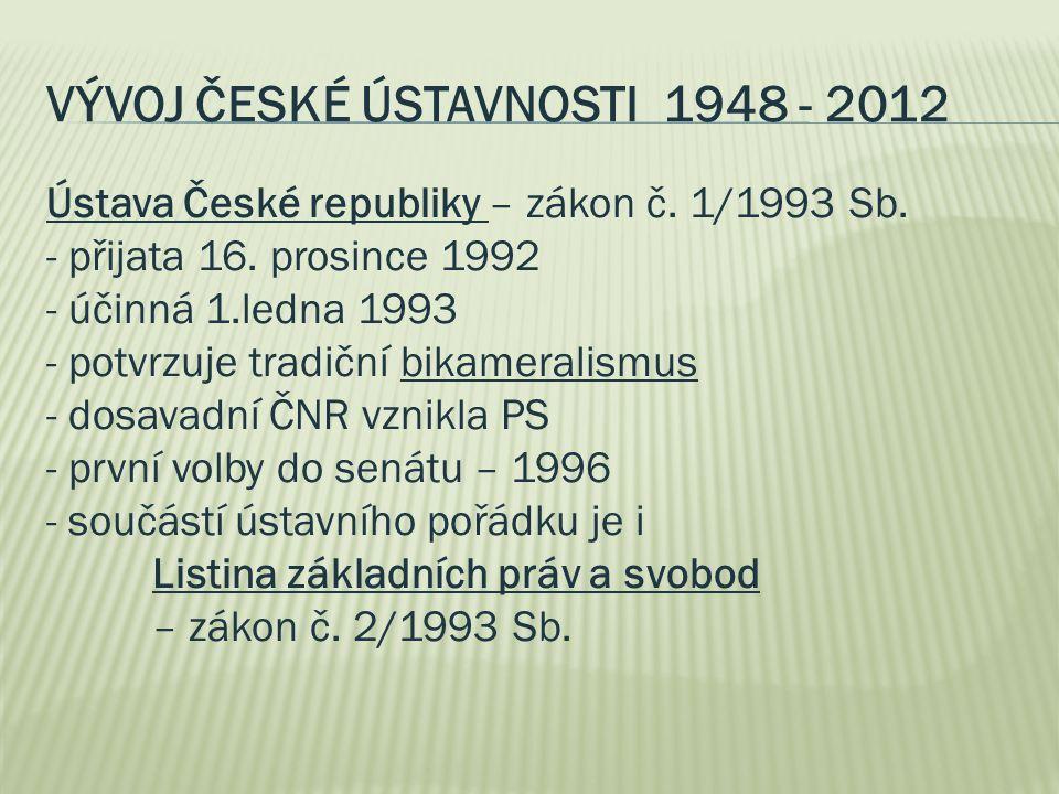 VÝVOJ ČESKÉ ÚSTAVNOSTI 1948 - 2012 Ústava České republiky – zákon č. 1/1993 Sb. - přijata 16. prosince 1992 - účinná 1.ledna 1993 - potvrzuje tradiční