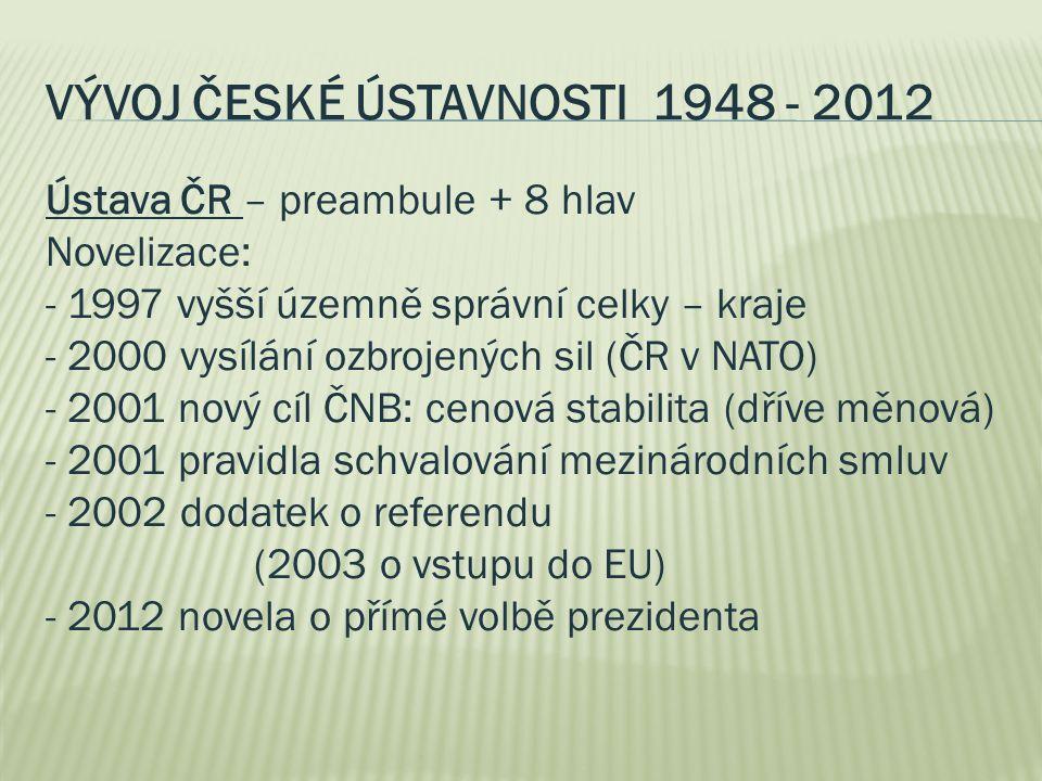 VÝVOJ ČESKÉ ÚSTAVNOSTI 1948 - 2012 Ústava ČR – preambule + 8 hlav Novelizace: - 1997 vyšší územně správní celky – kraje - 2000 vysílání ozbrojených si