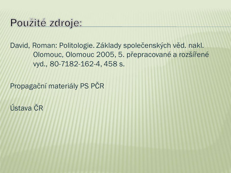 David, Roman: Politologie. Základy společenských věd. nakl. Olomouc, Olomouc 2005, 5. přepracované a rozšířené vyd., 80-7182-162-4, 458 s. Propagační