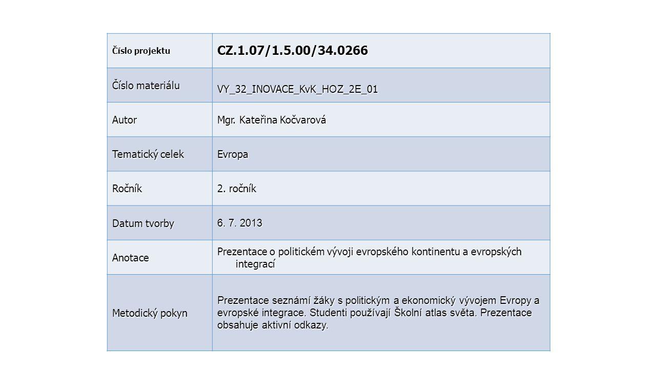 Číslo projektu CZ.1.07/1.5.00/34.0266 Číslo materiálu VY_32_INOVACE_KvK_ HOZ _2 E _01 Autor Mgr. Kateřina Kočvarová Tematický celek Evropa Ročník 2. r