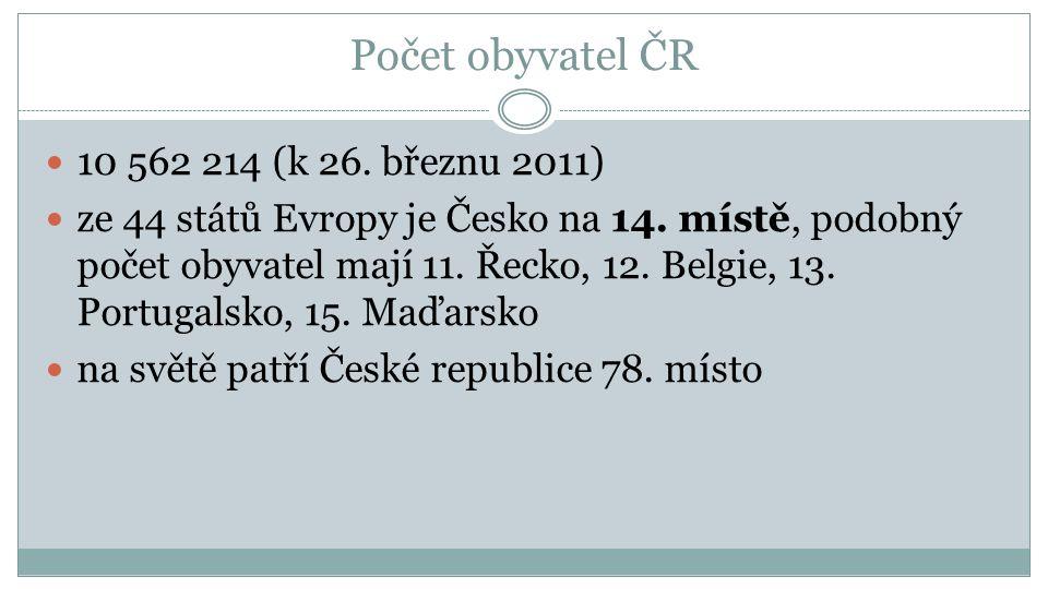 Počet obyvatel ČR 10 562 214 (k 26. březnu 2011) ze 44 států Evropy je Česko na 14.