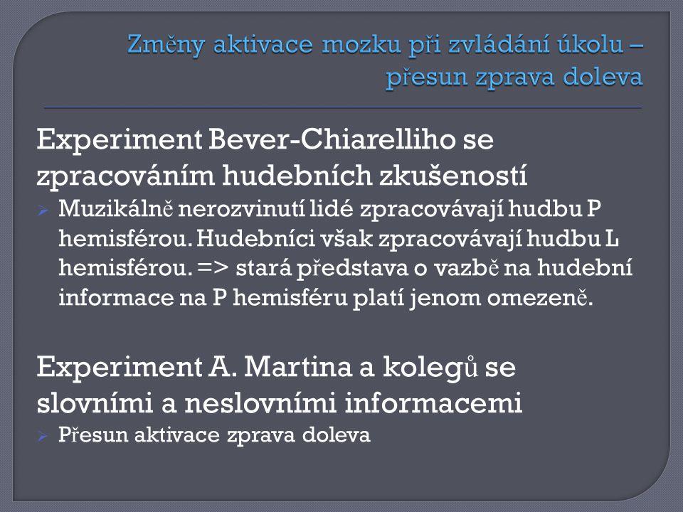 Experiment Bever-Chiarelliho se zpracováním hudebních zkušeností  Muzikáln ě nerozvinutí lidé zpracovávají hudbu P hemisférou.