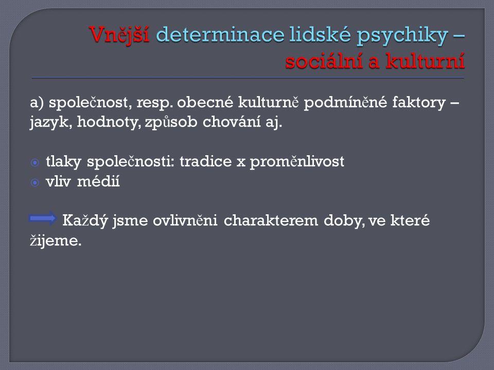 a) spole č nost, resp.obecné kulturn ě podmín ě né faktory – jazyk, hodnoty, zp ů sob chování aj.