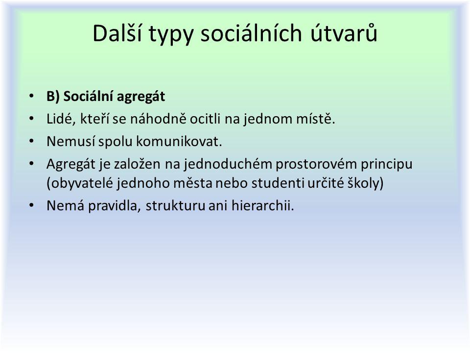Další typy sociálních útvarů B) Sociální agregát Lidé, kteří se náhodně ocitli na jednom místě. Nemusí spolu komunikovat. Agregát je založen na jednod