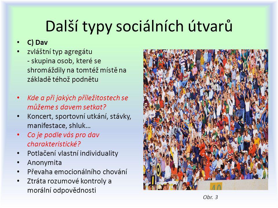 Další typy sociálních útvarů C) Dav zvláštní typ agregátu - skupina osob, které se shromáždily na tomtéž místě na základě téhož podnětu Kde a při jaký