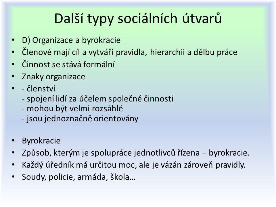 Další typy sociálních útvarů D) Organizace a byrokracie Členové mají cíl a vytváří pravidla, hierarchii a dělbu práce Činnost se stává formální Znaky