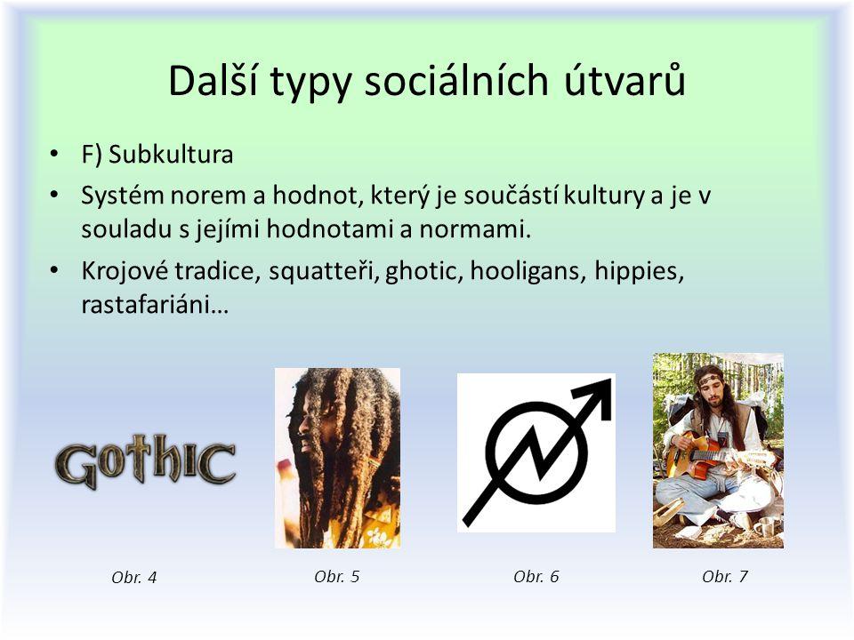 Další typy sociálních útvarů F) Subkultura Systém norem a hodnot, který je součástí kultury a je v souladu s jejími hodnotami a normami. Krojové tradi