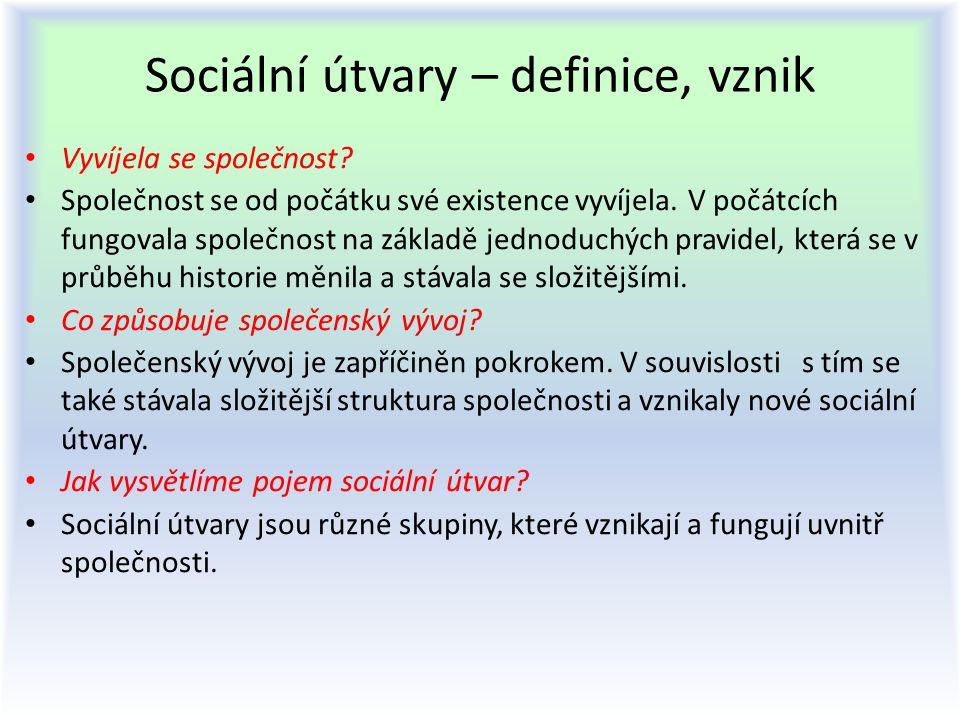 Sociální útvary – definice, vznik Vyvíjela se společnost? Společnost se od počátku své existence vyvíjela. V počátcích fungovala společnost na základě