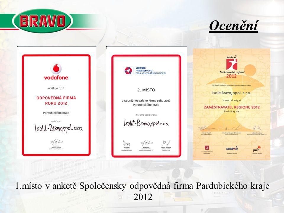 Ocenění 1.místo v anketě Společensky odpovědná firma Pardubického kraje 2012