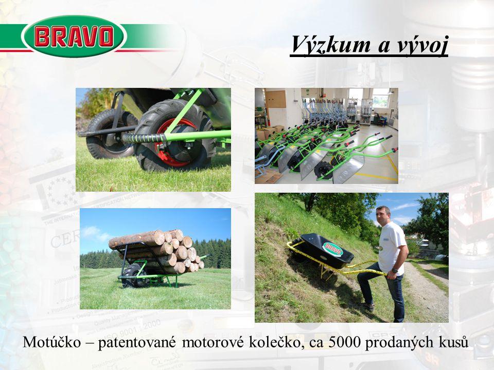 Výzkum a vývoj Motúčko – patentované motorové kolečko, ca 5000 prodaných kusů