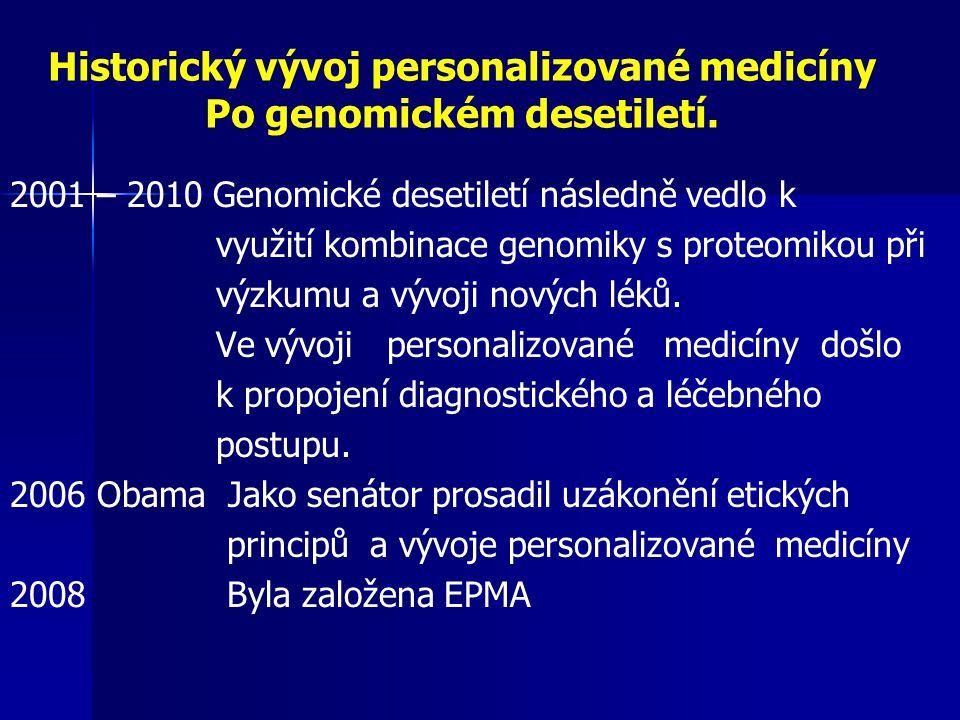 Historický vývoj personalizované medicíny Po genomickém desetiletí. 2001 – 2010 Genomické desetiletí následně vedlo k využití kombinace genomiky s pro
