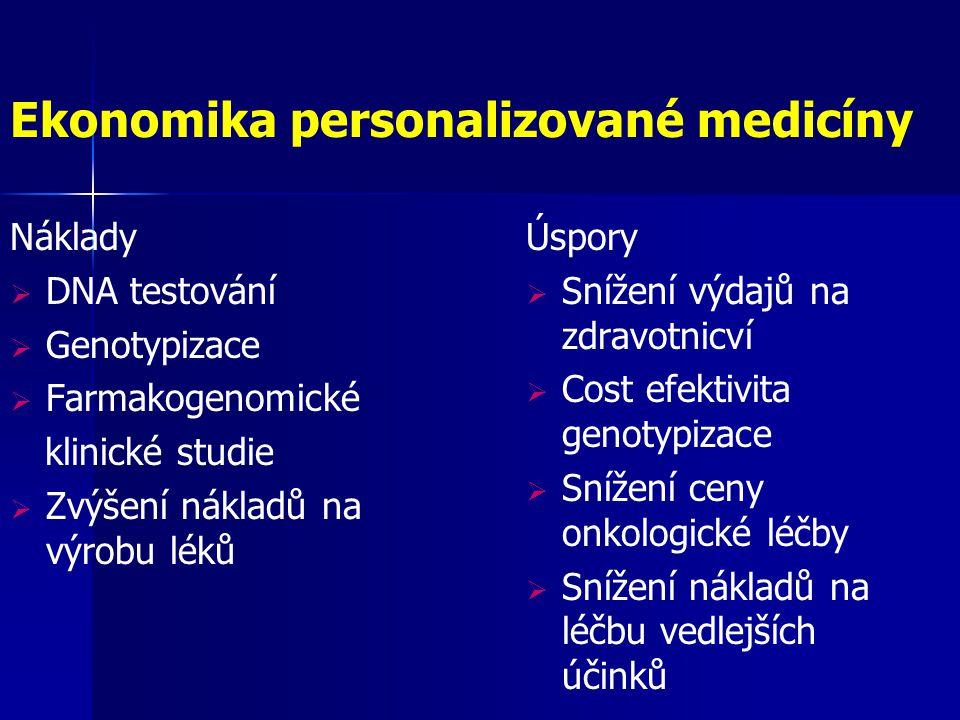 Ekonomika personalizované medicíny Náklady  DNA testování  Genotypizace  Farmakogenomické klinické studie  Zvýšení nákladů na výrobu léků Úspory 