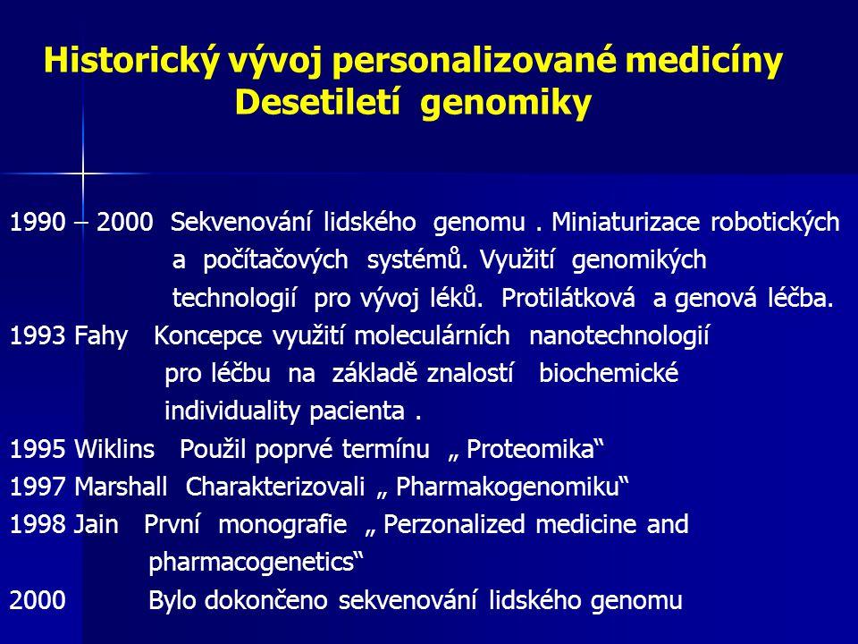 Historický vývoj personalizované medicíny Desetiletí genomiky 1990 – 2000 Sekvenování lidského genomu. Miniaturizace robotických a počítačových systém