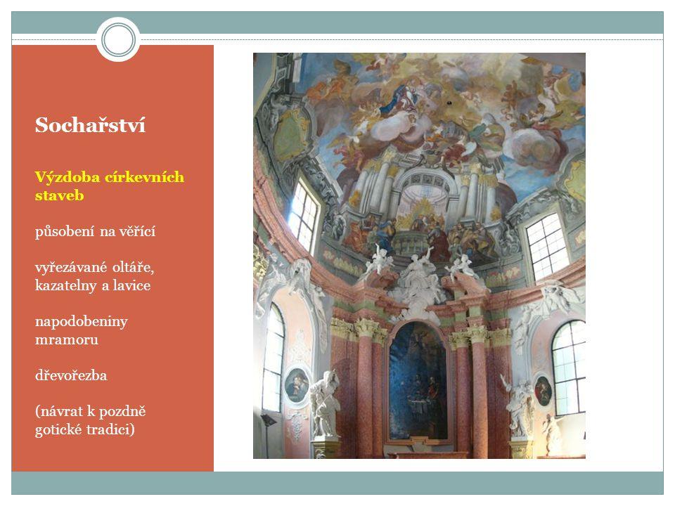 Sochařství Výzdoba církevních staveb působení na věřící vyřezávané oltáře, kazatelny a lavice napodobeniny mramoru dřevořezba (návrat k pozdně gotické