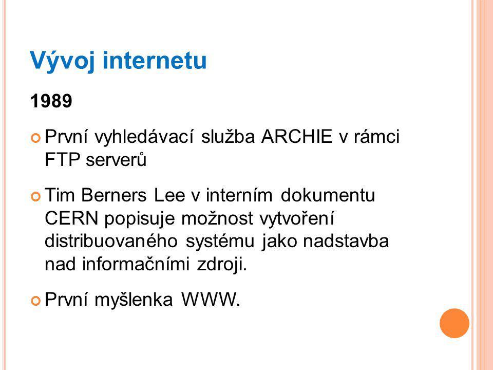 Vývoj internetu 1989 První vyhledávací služba ARCHIE v rámci FTP serverů Tim Berners Lee v interním dokumentu CERN popisuje možnost vytvoření distribuovaného systému jako nadstavba nad informačními zdroji.