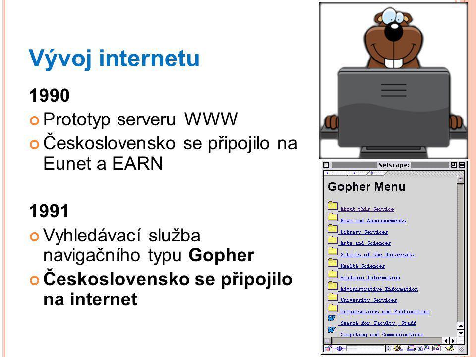 Vývoj internetu 1990 Prototyp serveru WWW Československo se připojilo na Eunet a EARN 1991 Vyhledávací služba navigačního typu Gopher Československo se připojilo na internet