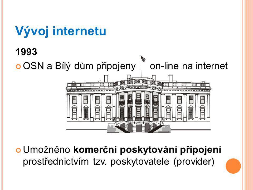Vývoj internetu 1993 OSN a Bílý dům připojeny on-line na internet Umožněno komerční poskytování připojení prostřednictvím tzv.