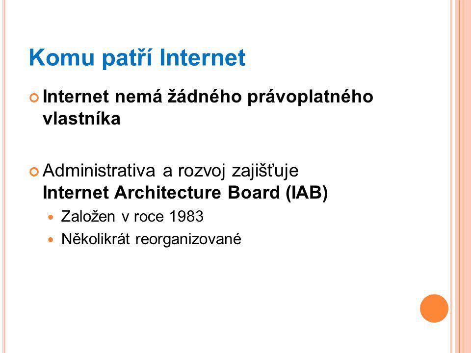 Komu patří Internet Internet nemá žádného právoplatného vlastníka Administrativa a rozvoj zajišťuje Internet Architecture Board (IAB) Založen v roce 1983 Několikrát reorganizované