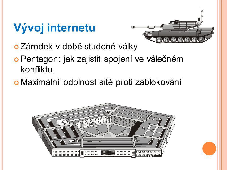 Vývoj internetu Zárodek v době studené války Pentagon: jak zajistit spojení ve válečném konfliktu.