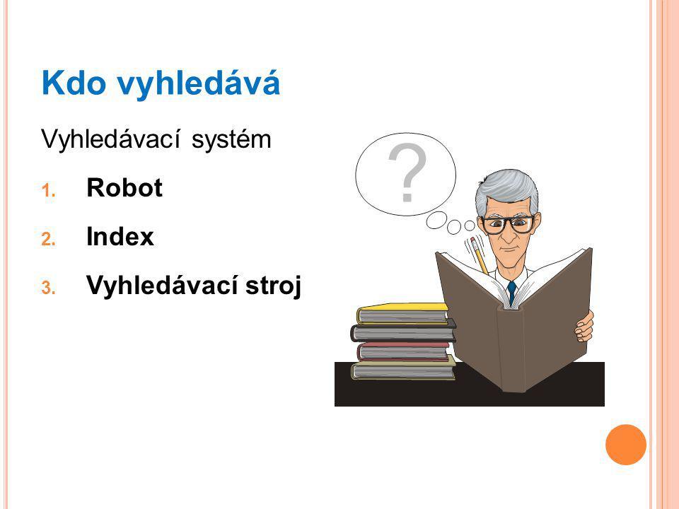 Kdo vyhledává Vyhledávací systém 1. Robot 2. Index 3. Vyhledávací stroj