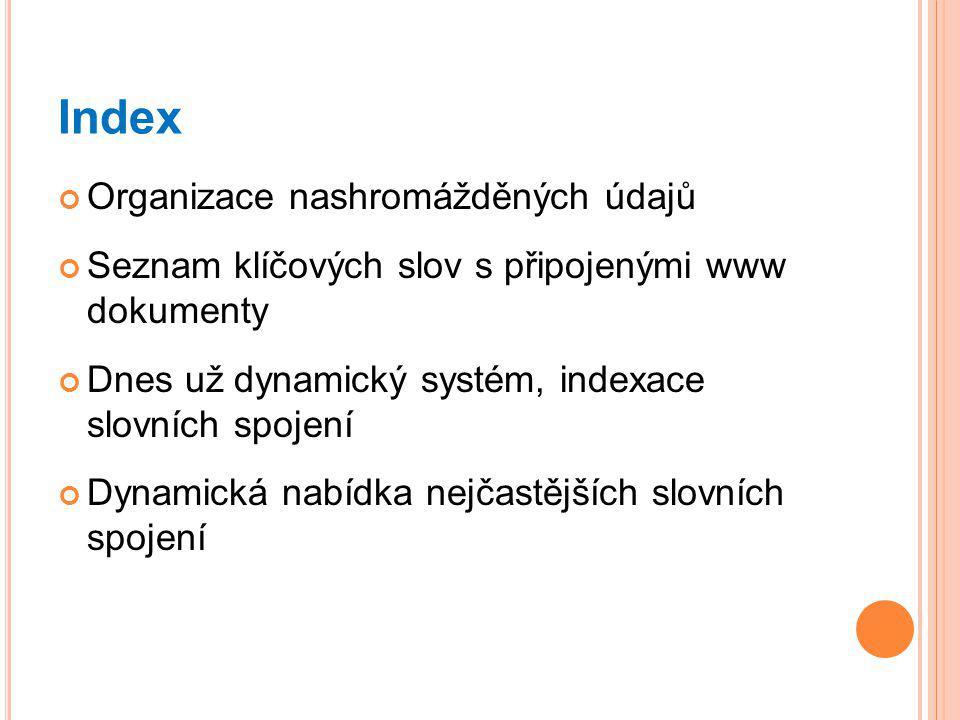 Index Organizace nashromážděných údajů Seznam klíčových slov s připojenými www dokumenty Dnes už dynamický systém, indexace slovních spojení Dynamická nabídka nejčastějších slovních spojení