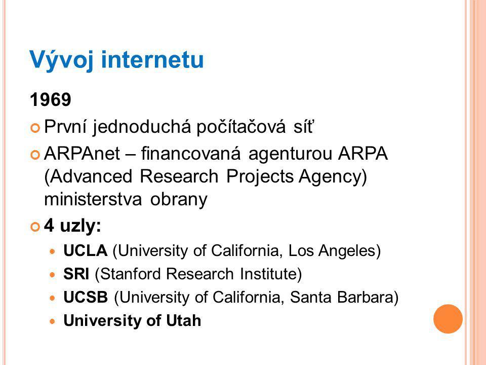 Vývoj internetu 1969 První jednoduchá počítačová síť ARPAnet – financovaná agenturou ARPA (Advanced Research Projects Agency) ministerstva obrany 4 uzly: UCLA (University of California, Los Angeles) SRI (Stanford Research Institute) UCSB (University of California, Santa Barbara) University of Utah