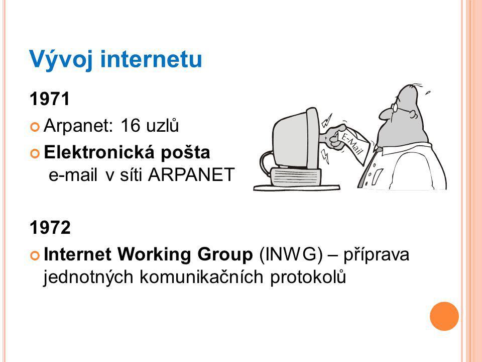 Vývoj internetu 1971 Arpanet: 16 uzlů Elektronická pošta e-mail v síti ARPANET 1972 Internet Working Group (INWG) – příprava jednotných komunikačních protokolů