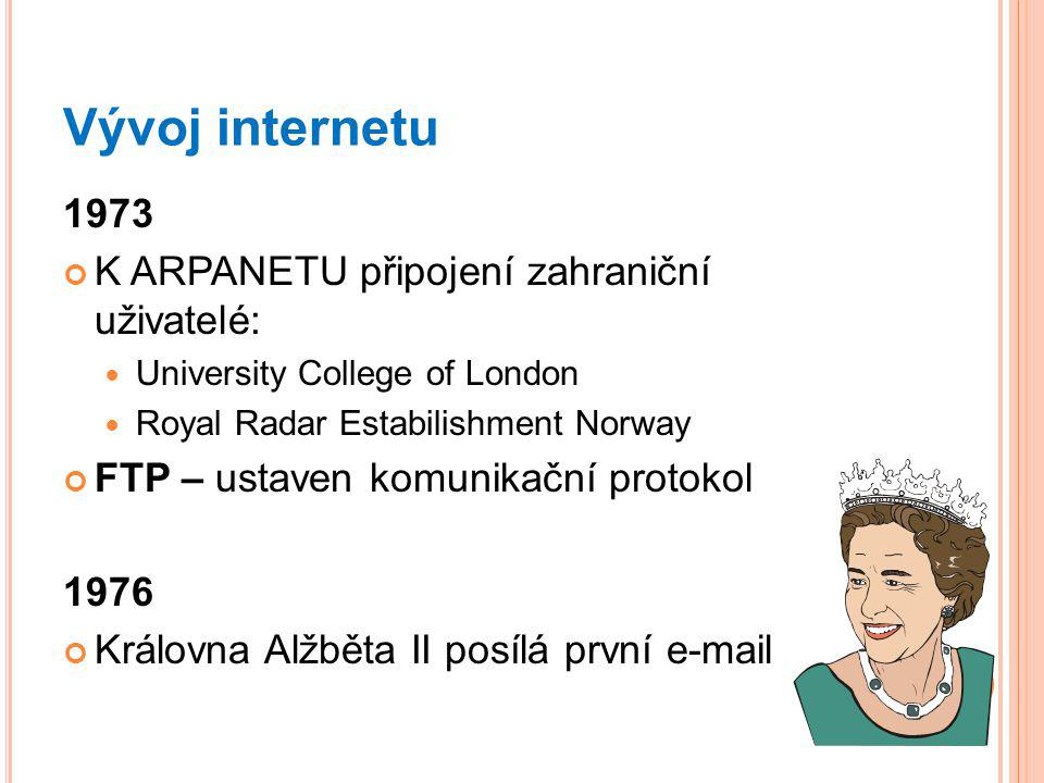 Vývoj internetu 1973 K ARPANETU připojení zahraniční uživatelé: University College of London Royal Radar Estabilishment Norway FTP – ustaven komunikační protokol 1976 Královna Alžběta II posílá první e-mail