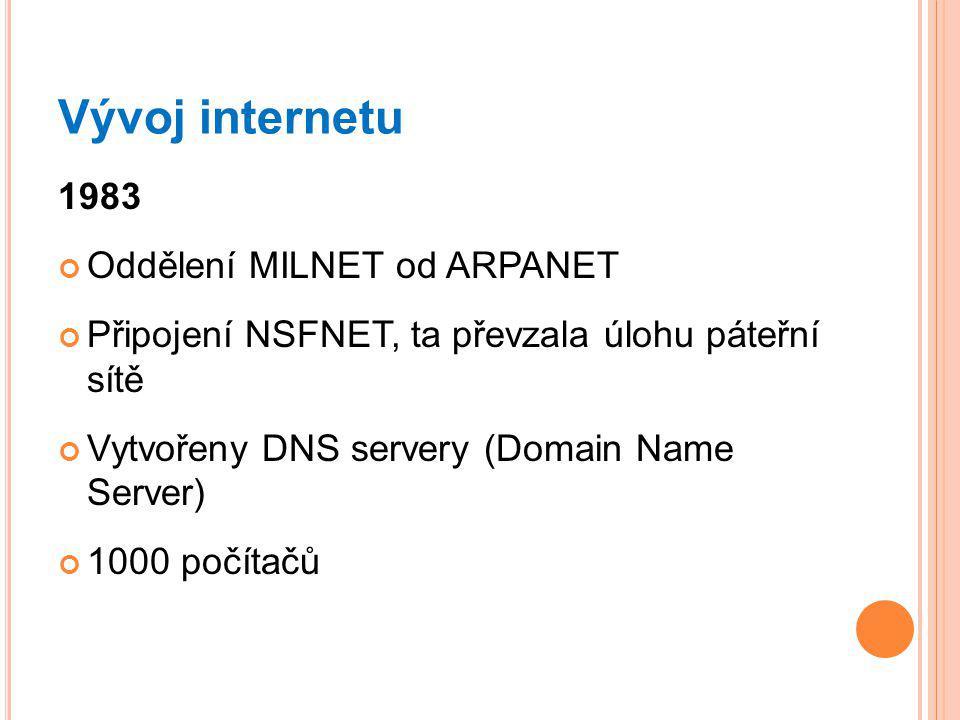 Vývoj internetu 1983 Oddělení MILNET od ARPANET Připojení NSFNET, ta převzala úlohu páteřní sítě Vytvořeny DNS servery (Domain Name Server) 1000 počítačů