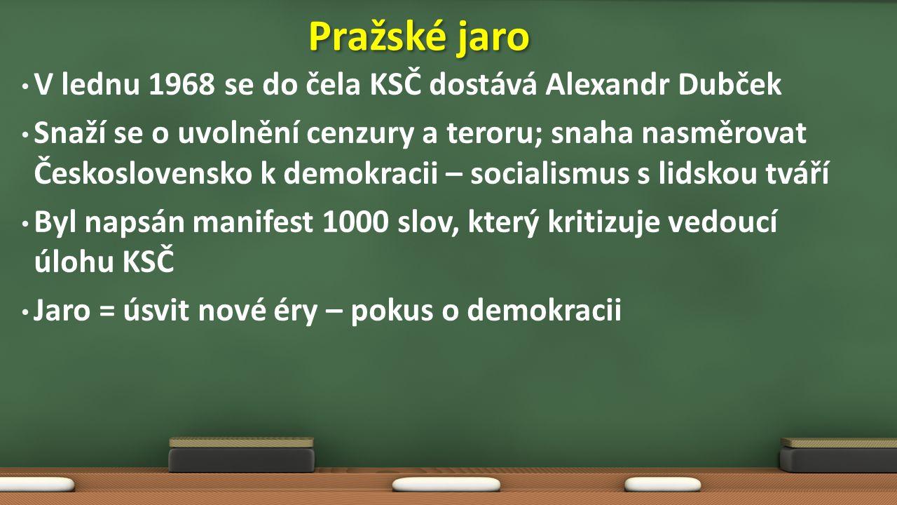 V lednu 1968 se do čela KSČ dostává Alexandr Dubček Snaží se o uvolnění cenzury a teroru; snaha nasměrovat Československo k demokracii – socialismus s lidskou tváří Byl napsán manifest 1000 slov, který kritizuje vedoucí úlohu KSČ Jaro = úsvit nové éry – pokus o demokracii Pražské jaro