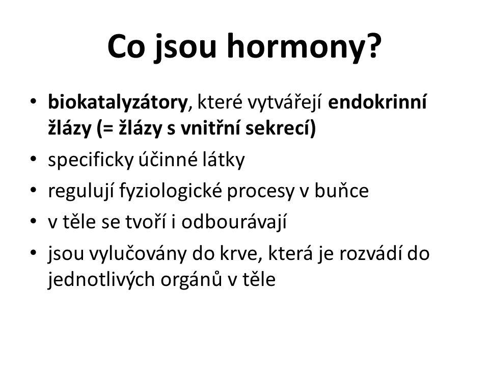 Co jsou hormony? biokatalyzátory, které vytvářejí endokrinní žlázy (= žlázy s vnitřní sekrecí) specificky účinné látky regulují fyziologické procesy v