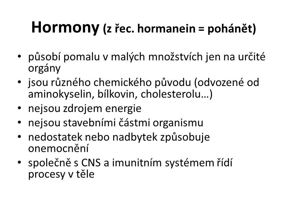 Hormony (z řec. hormanein = pohánět) působí pomalu v malých množstvích jen na určité orgány jsou různého chemického původu (odvozené od aminokyselin,