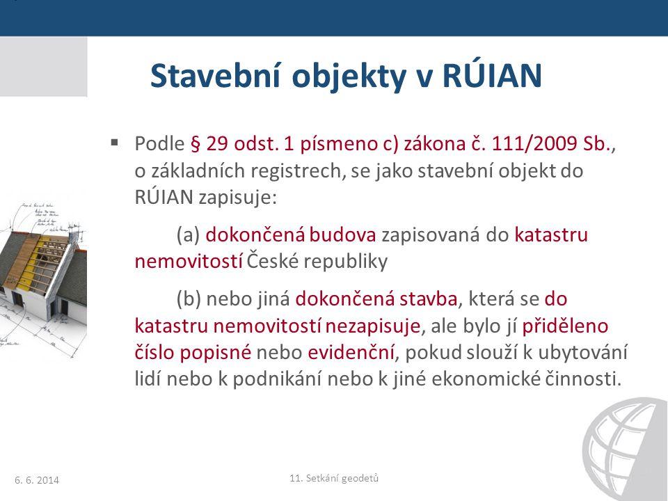 Stavební objekty v RÚIAN  Podle § 29 odst. 1 písmeno c) zákona č. 111/2009 Sb., o základních registrech, se jako stavební objekt do RÚIAN zapisuje: (