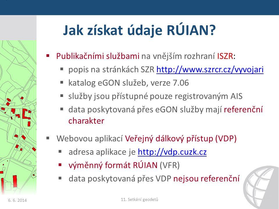 Jak získat údaje RÚIAN?  Publikačními službami na vnějším rozhraní ISZR:  popis na stránkách SZR http://www.szrcr.cz/vyvojarihttp://www.szrcr.cz/vyv