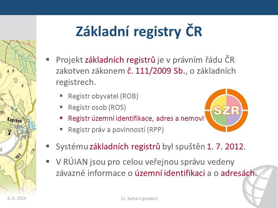 Základní registry ČR  Projekt základních registrů je v právním řádu ČR zakotven zákonem č. 111/2009 Sb., o základních registrech.  Registr obyvatel