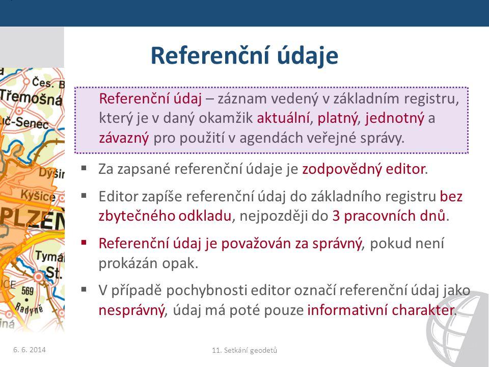 Referenční údaje Referenční údaj – záznam vedený v základním registru, který je v daný okamžik aktuální, platný, jednotný a závazný pro použití v agen