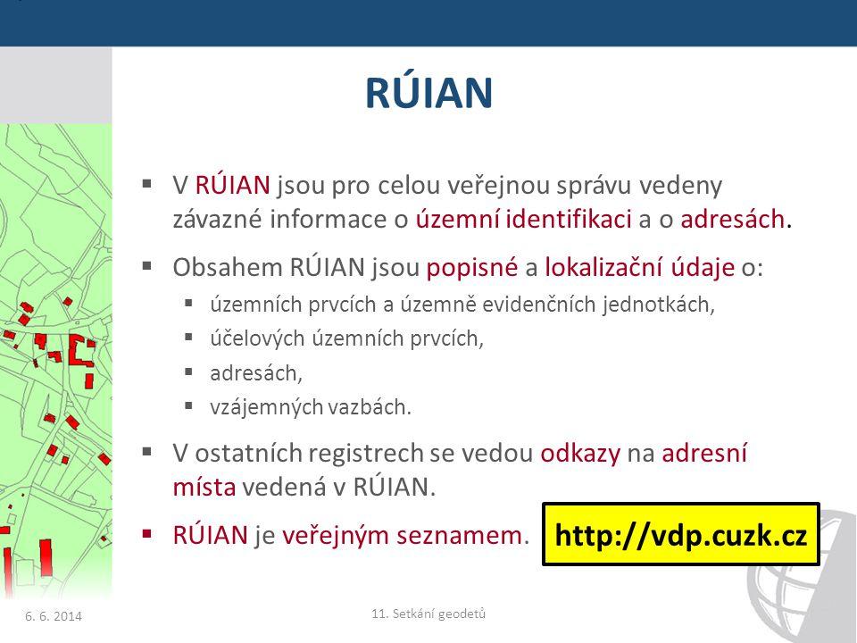 RÚIAN  V RÚIAN jsou pro celou veřejnou správu vedeny závazné informace o územní identifikaci a o adresách.  Obsahem RÚIAN jsou popisné a lokalizační